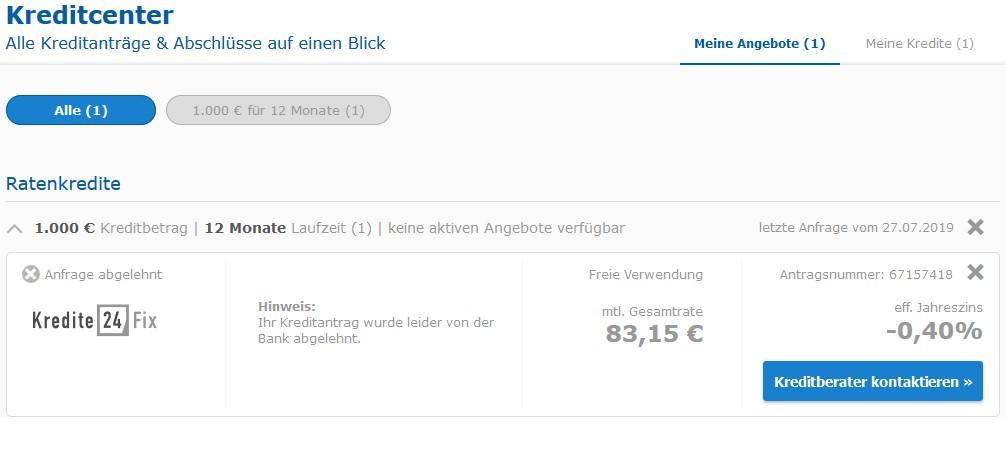 Der Kredit über check24.de wurde nicht genehmigt