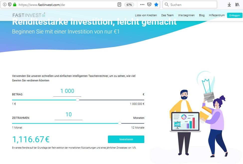 Titelbild zum Artikel FAST INVEST – Investieren in riskante P2P-Kredite aus England