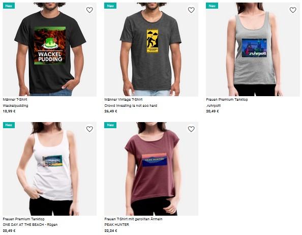 Meine T-Shirt-Kollektion auf spreadshirt.de